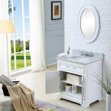 "Water Creation Derby 24"" Solid White Single Sink Bathroom Vanity With Matching Framed Mirror And Faucet"