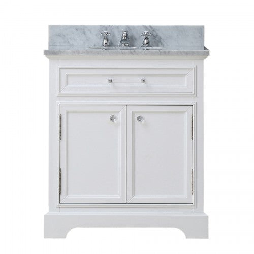 "Water Creation Derby 30"" Solid White Single Sink Bathroom Vanity"
