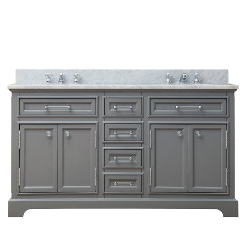 "Water Creation Derby 60"" Cashmere Grey Double Sink Bathroom Vanity"