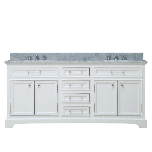 "Water Creation Derby 72"" Solid White Double Sink Bathroom Vanity"
