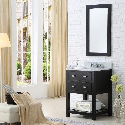 "Water Creation Madalyn 24"" Espresso Single Sink Bathroom Vanity With Matching Framed Mirror And Faucet"