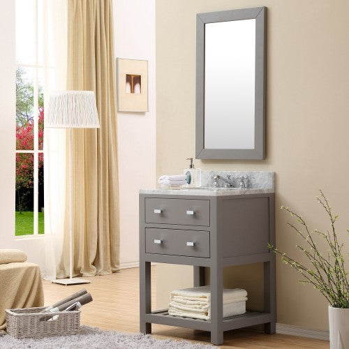 "Water Creation Madalyn 24"" Cashmere Grey Single Sink Bathroom Vanity With Matching Framed Mirror"