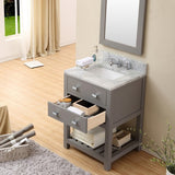 "Water Creation Madalyn 24"" Cashmere Grey Single Sink Bathroom Vanity With Matching Framed Mirror And Faucet"