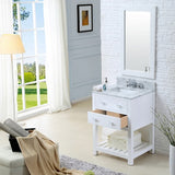 "Water Creation Madalyn 24"" Solid White Single Sink Bathroom Vanity With Matching Framed Mirror"