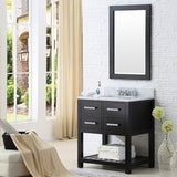 "Water Creation Madalyn 30"" Espresso Single Sink Bathroom Vanity With Matching Framed Mirror And Faucet"