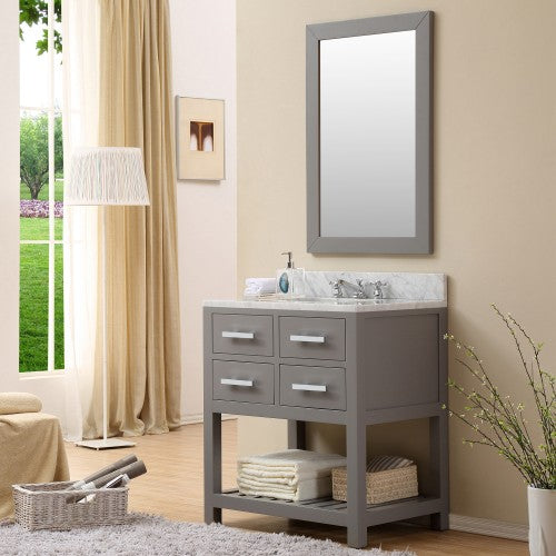 "Water Creation Madalyn 30"" Cashmere Grey Single Sink Bathroom Vanity With Matching Framed Mirror"