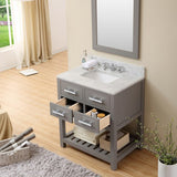 "Water Creation Madalyn 30"" Cashmere Grey Single Sink Bathroom Vanity With Matching Framed Mirror And Faucet"