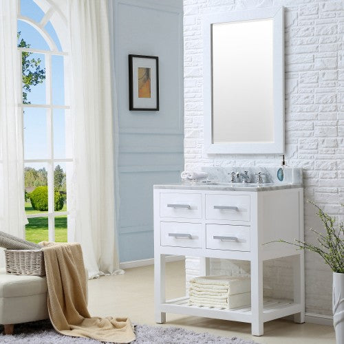 "Water Creation Madalyn 30"" White Single Sink Bathroom Vanity With Matching Framed Mirror And Faucet"