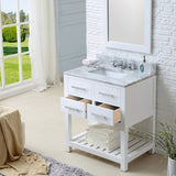 "Water Creation Madalyn 30"" White Single Sink Bathroom Vanity With Matching Framed Mirror"
