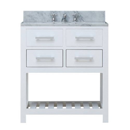 "Water Creation Madalyn 30"" White Single Sink Bathroom Vanity"