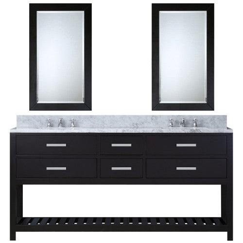 "Water Creation Madalyn 60"" Expresso Double Sink Bathroom Vanity With 2 Matching Framed Mirrors"