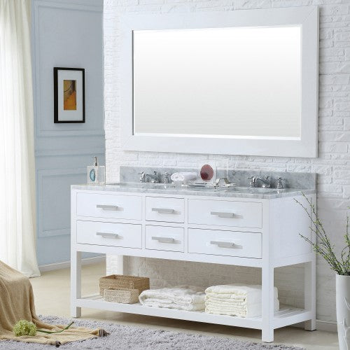 "Water Creation Madalyn 60"" Pure White Double Sink Bathroom Vanity With Matching Framed Mirror"