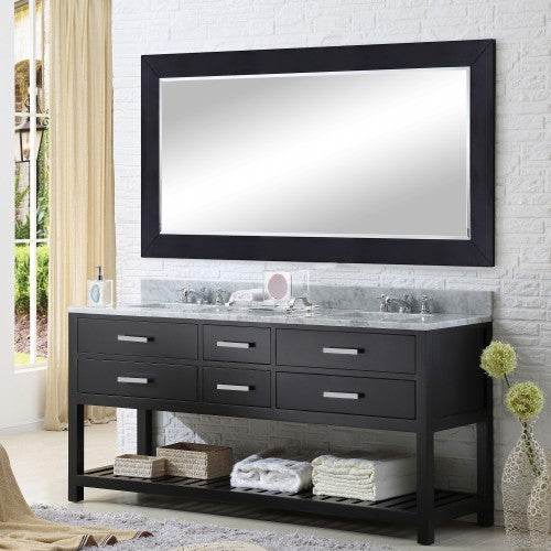 "Water Creation Madalyn 72"" Espresso Double Sink Bathroom Vanity With Matching Framed Mirror And Faucet"