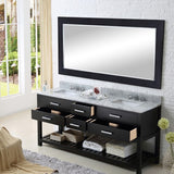 "Water Creation Madalyn 72"" Espresso Double Sink Bathroom Vanity With Matching Framed Mirror"
