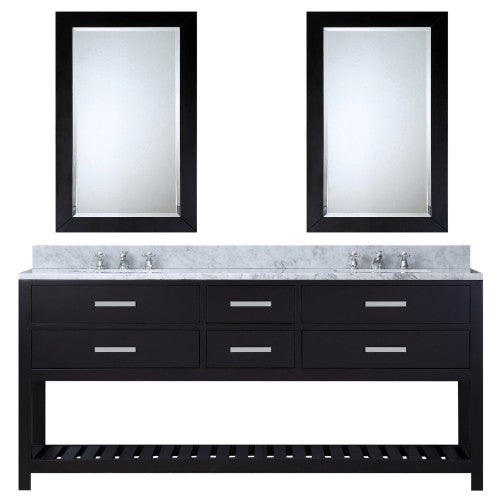 "Water Creation Madalyn 72"" Pure Expresson Sink Bathroom Vanity With Two Matching Framed Mirrors"
