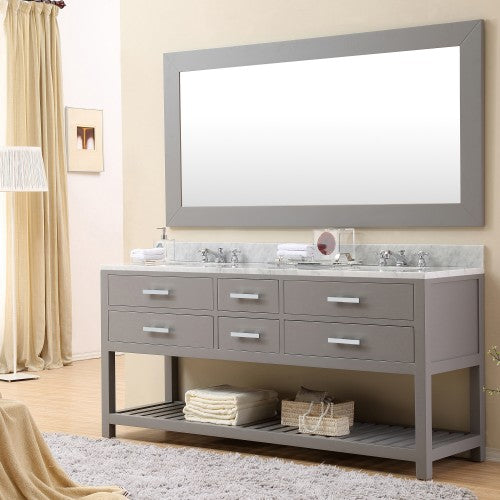 "Water Creation Madalyn 72"" Cashmere Grey Double Sink Bathroom Vanity With Matching Framed Mirror And Faucet"