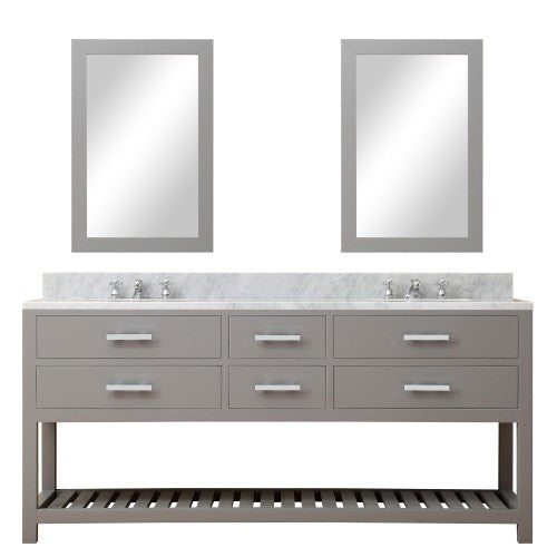 "Water Creation Madalyn 72"" Cashmere Grey Double Sink Bathroom Vanity With Two Matching Framed Mirrors"