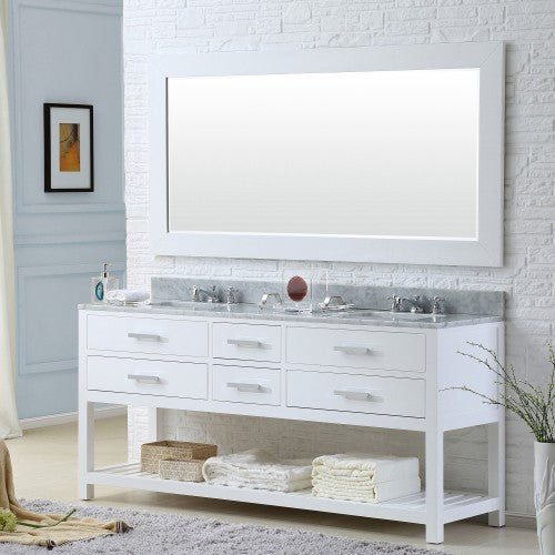 "Water Creation Madalyn 72"" Pure White Double Sink Bathroom Vanity With Matching Framed Mirror And Faucet"