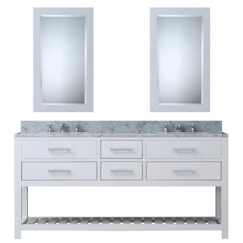 "Water Creation Madalyn 72"" Pure White Double Sink Bathroom Vanity With Two Matching Framed Mirrors"