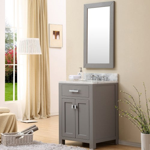 "Water Creation Madison 30"" Cashmere Gray Single Sink Bathroom Vanity With Matching Framed Mirror"