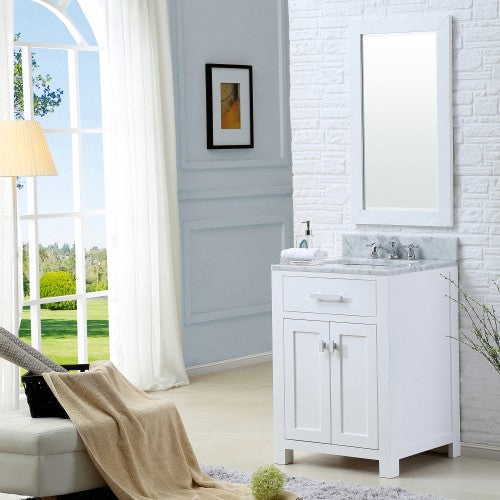 "Water Creation Madison 24"" Pure White Single Sink Bathroom Vanity With Matching Framed Mirror And Faucet"