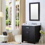 "Water Creation Madison 30"" Espresso Single Sink Bathroom Vanity With Matching Framed Mirror And Faucet"