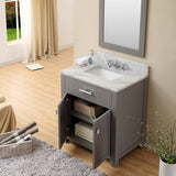 "Water Creation Madison 30"" Cashmere Grey Single Sink Bathroom Vanity With Matching Framed Mirror And Faucet"