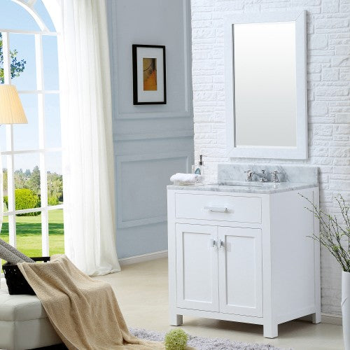 "Water Creation Madison 30"" Pure White Single Sink Bathroom Vanity With Matching Framed Mirror"