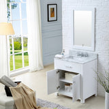 "Water Creation Madison 30"" Pure White Single Sink Bathroom Vanity With Matching Framed Mirror And Faucet"