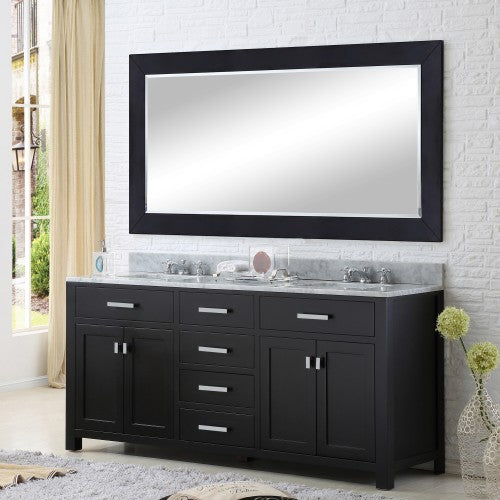 "Water Creation Madison 60"" Expresso Sink Bathroom Vanity With Matching Framed Mirror"