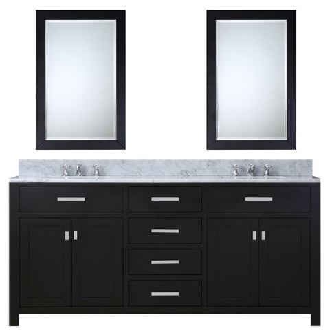 "Water Creation Madison 72"" Espresso Double Sink Bathroom Vanity With 2 Matching Framed Mirror"