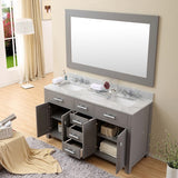 "Water Creation Madison 60"" Cashmere Grey Double Sink Bathroom Vanity With Matching Framed Mirror And Faucet"