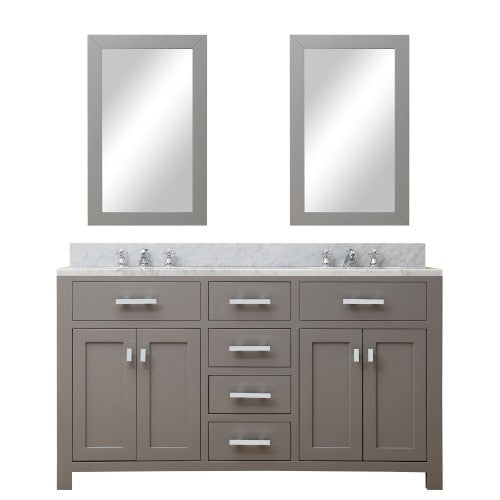 "Water Creation Madison 60"" Cashmere Gray Sink Bathroom Vanity With 2 Matching Framed Mirror"