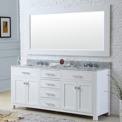 "Water Creation Madison 60"" Pure White Sink Bathroom Vanity With Matching Framed Mirror"