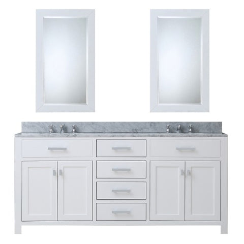 "Water Creation Madison 72"" Pure White Double Sink Bathroom Vanity With 2 Matching Framed Mirror"