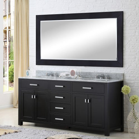 "Water Creation Madison 72"" Espresso Double Sink Bathroom Vanity With Matching Framed Mirror"