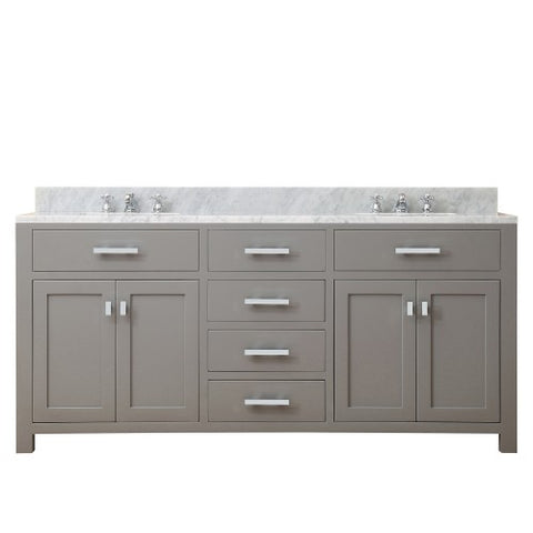 "Water Creation Madison 72"" Cashmere Gray Double Sink Bathroom Vanity"