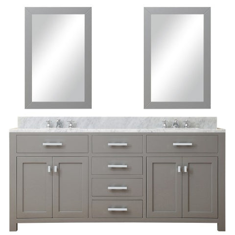 "Water Creation Madison 72"" Cashmere Gray Double Sink Bathroom Vanity With 2 Matching Framed Mirror"