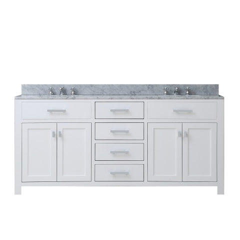 "Water Creation Madison 72"" Pure White Double Sink Bathroom Vanity"