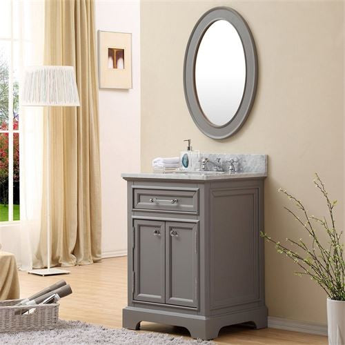 "Water Creation Derby 24GBF 24"" Cashmere Grey Single Sink Bathroom Vanity With Matching Framed Mirror And Faucet"