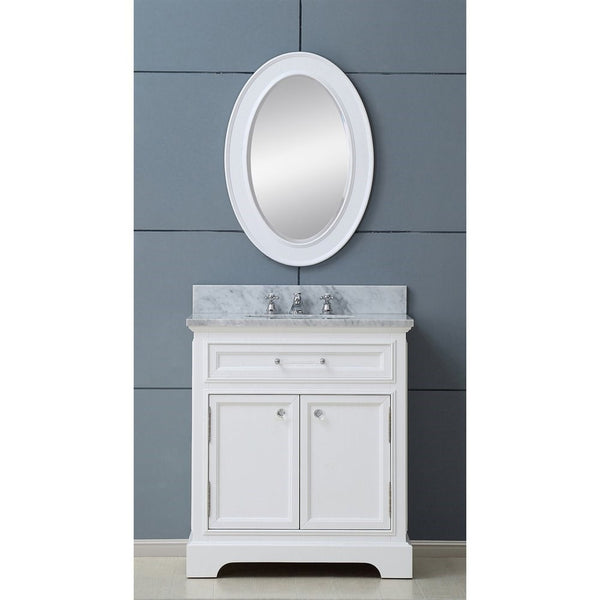 "Water Creation Derby 24WB 24"" Solid White Single Sink Bathroom Vanity With Matching Framed Mirror"