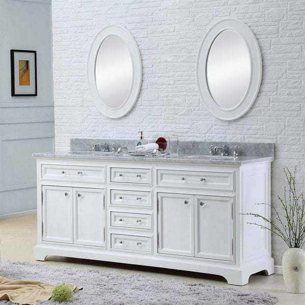 "Water Creation Derby 60"" Solid White Double Sink Bathroom Vanity With Matching Framed Mirrors And Faucets"