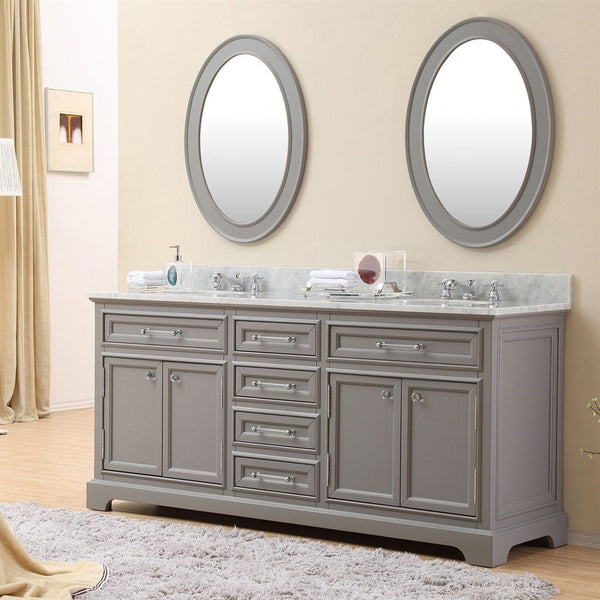 "Water Creation Derby 72"" Cashmere Grey Double Sink Bathroom Vanity With Matching Framed Mirrors"