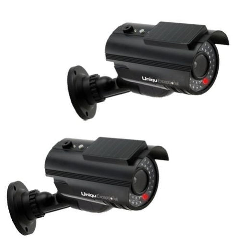 UniquExceptional 2 PACK of Outdoor SOLAR Dummy Fake Black Security Cameras w LED - SAVE BATTERIES