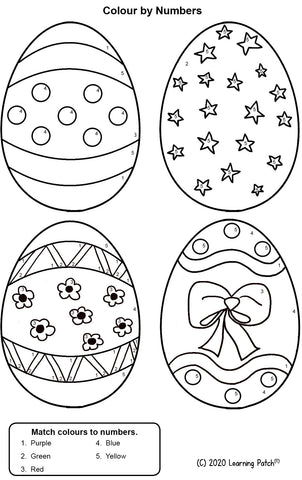 FREE: Colour By Number Easter Eggs