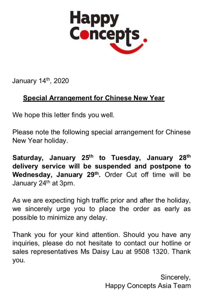 Special Arrangement for Chinese New Year