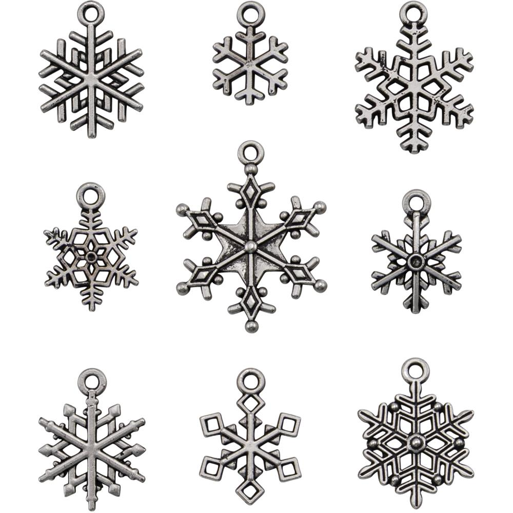 Idea-Ology Metal Adornments 9/Pkg- Antique Nickel Snowflakes 94007