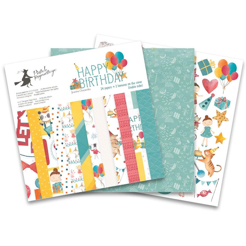 "P13 - P13 Double-Sided Paper Pad 6""X6"" 24/Pkg - Happy Birthday, 6 Designs/4 Each + P13HB416"