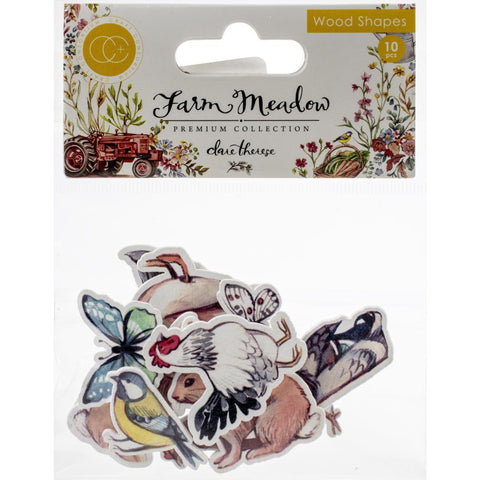 Craft Consortium Laser-Cut Wooden Shapes 10/Pkg - Animals By Clare Therese Gray CWDNS005