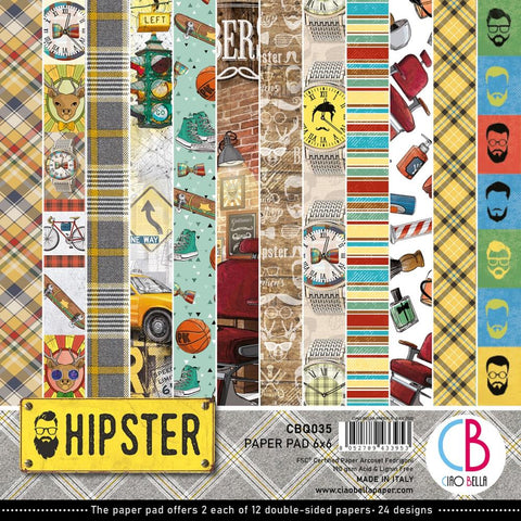 "Ciao Bella Double-Sided Paper Pack 90lb 6""X6"" 24/Pkg - Hipster, 12 Designs/2 Each CBQ035"